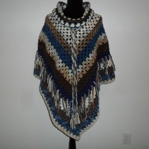 Poncho Removable Cowl  XXL Handmade One Of A Kind!